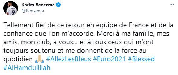 Tweet compte officiel Karim Benzema @Benzema.