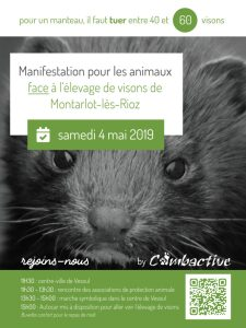 Manifestation contre l'élevage de visons de Montarlot, le 4 mai 2019