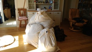 fleeces dried and bagged up