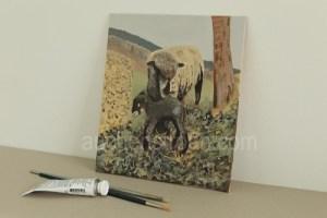 Sheep Art - Witchy & Yogi lamb original acrylic painting