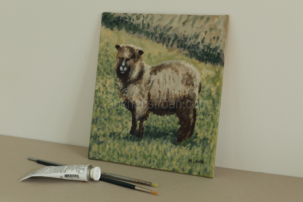 Pictures of Coloured Ryeland sheep - Yggy original acrylic painting