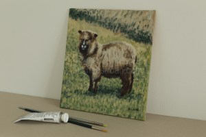 Pictures of sheep in the Scottish countryside - Yggy original acrylic painting