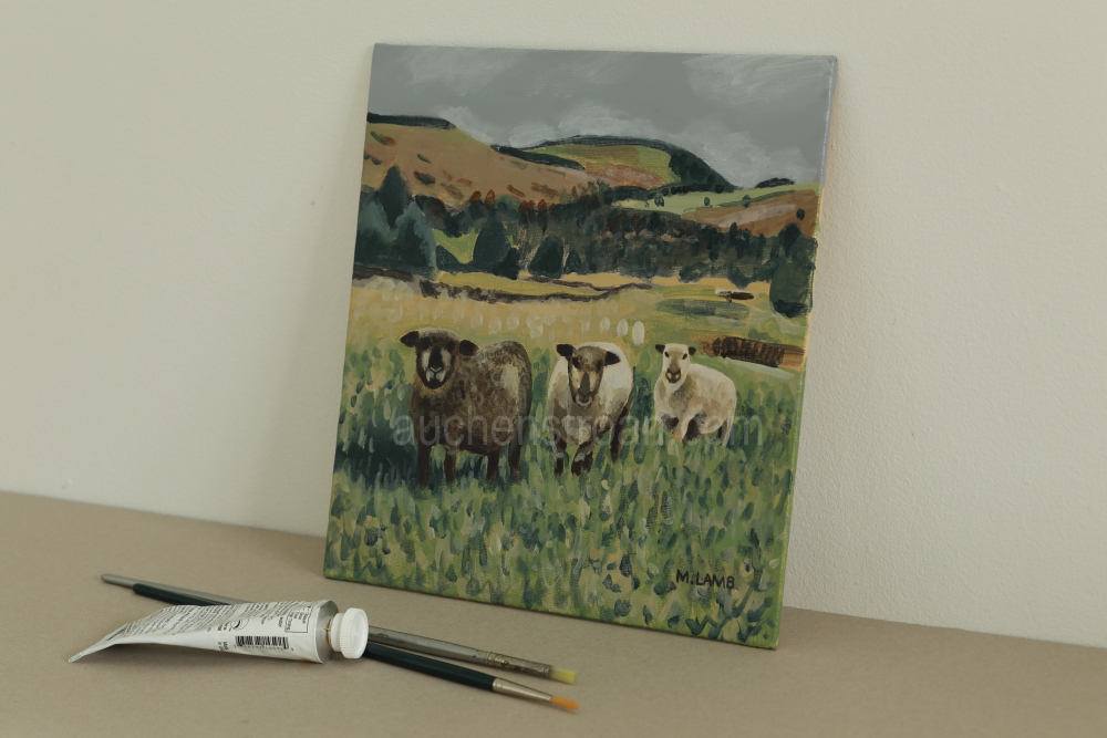 Pictures of rural Scotland - Yin Yarr & Yogi original acrylic painting