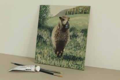 sheep picture - original acrylic painting - Ynca