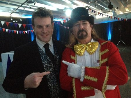 Auckland magician Mick Peck with Guy Cater, TVNZ Launch Party