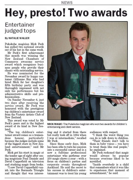 2011 news article with Mick Peck the magician winning two national awards
