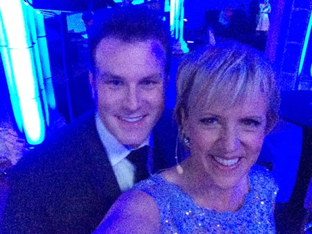 Auckland magician Mick Peck photograph with Hilary Barry