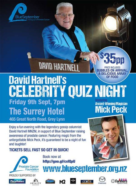Auckland magician Mick Peck closeup magic at David Hartnell's Hollywood Quiz Night, Blue September New Zealand event