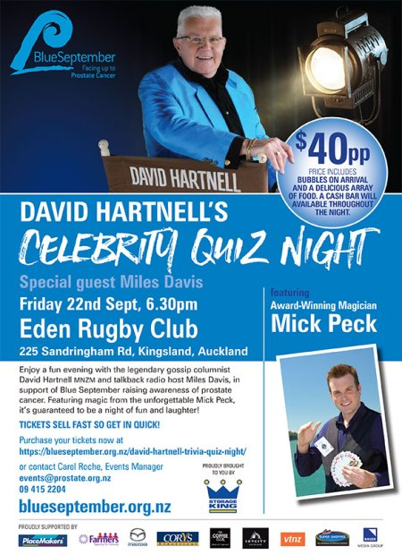 Mick Peck Auckland Magician at the Blue September Quiz Event Poster