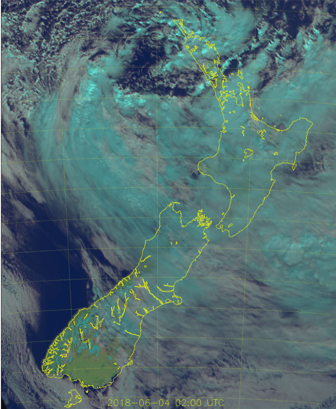 Visual imagery of NZ – 1400 NZST June 4 -Himawari 8 satellite