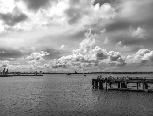 Auckland Harbour Clouds - Black & White