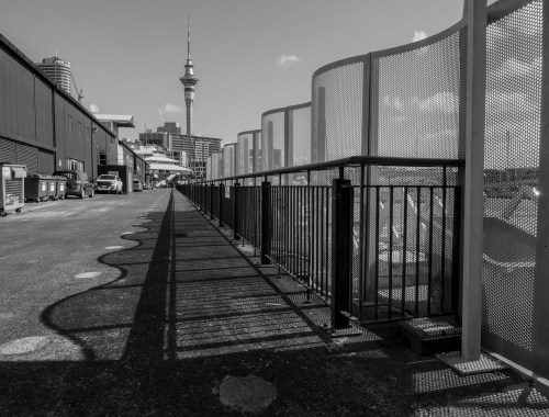 Viaduct Harbour Shadows - Black & White - Street Photography Auckland