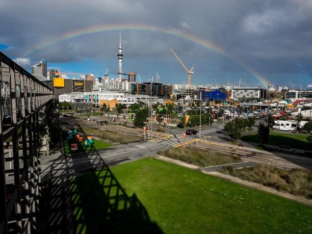 Auckland Rainy Day Rainbow Skyline