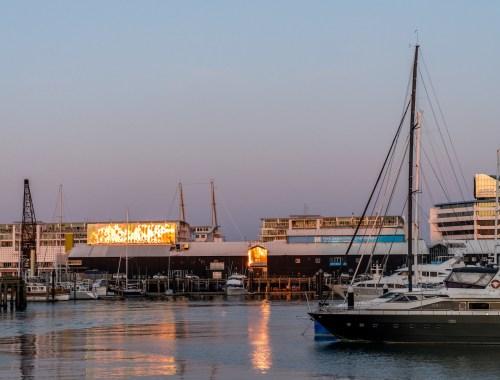 New Zealand Maritime Museum Golden Reflection - Street Photography Auckland