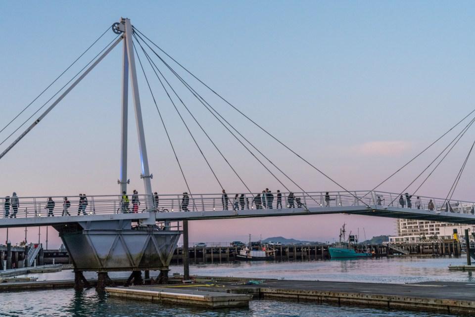 People Walking over Viaduct Harbour Bridge - Street Photography Auckland