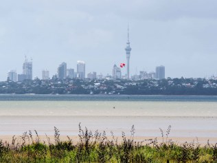 Kite Surfer at Waimanu Bay Reserve - Te Atatu Peninsula, Auckland Skyline