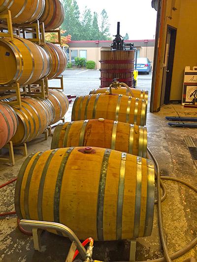 Barrels of Auclair Wine