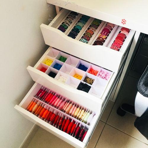 Les tiroirs du bureau