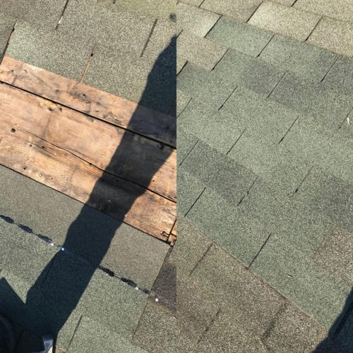 before/after patch of shingles repair