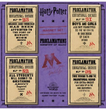 Lot de magnets Ministry of Magic Proclamations