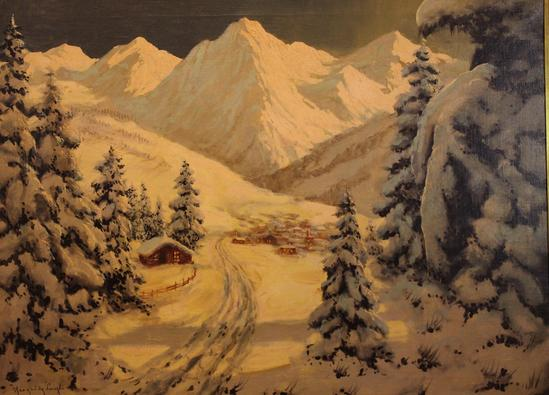 Antique LAZLO NEOGRADY Hungary Winter Snow Mountain Town
