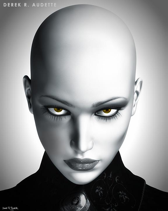 Illustration of Beautiful Bald Futuristic Woman