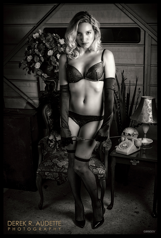 Sexy woman wearing black lingerie - Photography by Derek R. Audette