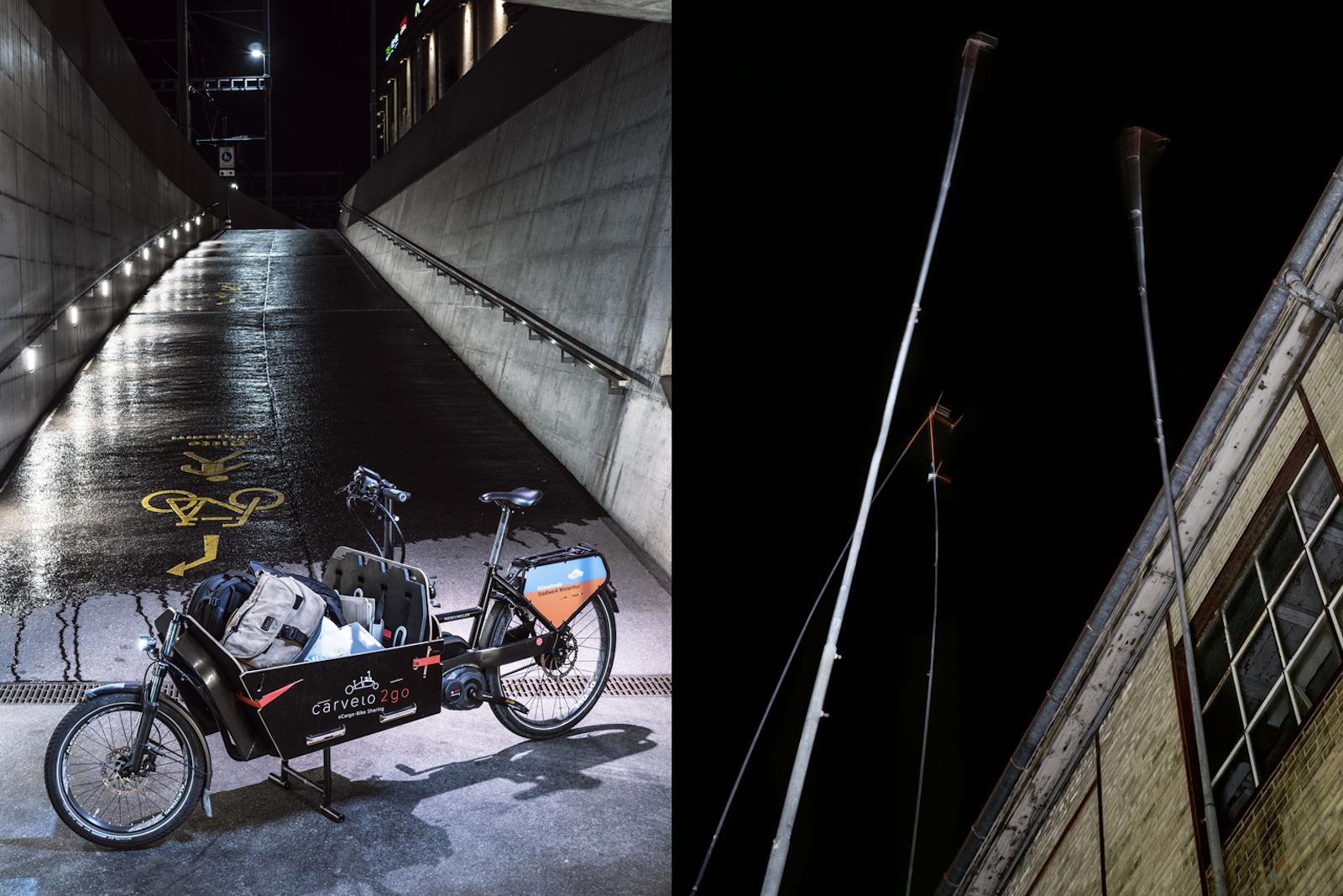 Carvelo2go steht für eCargo-Bike-Sharing in Winterthur und in anderen Städten. Man kann das elektrische Lastenvelo, das «Carvelo», zu einem Stundentarif mieten (links). Alte Industriegelände werden umgenutzt. Der Winterthurer Sitz der Zürcher Hochschule für Angewandte Wissenschaften (ZHAW) zum Beispiel befindet sich zum Teil auf dem ehemaligen Sulzer-Industrieareal (rechts). (Robert Huber)