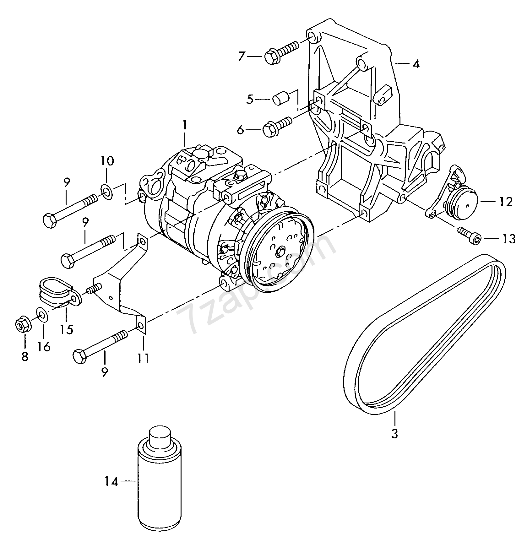A c pressor connecting and mounting parts for audi a4 avant a4 mexico 2003 year