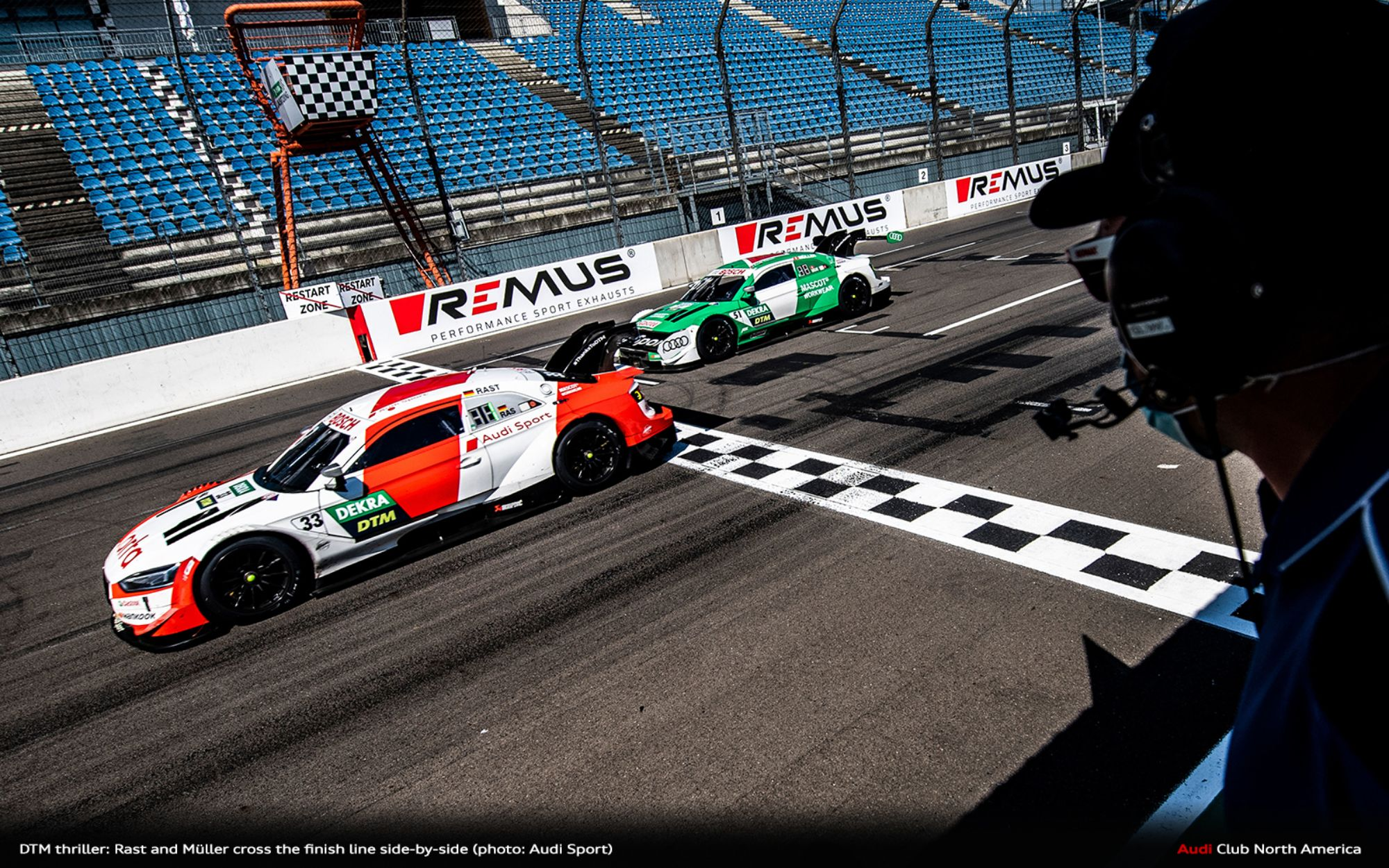 DTM Thriller: Rast and Müller Cross the Finish Line Side-By-Side