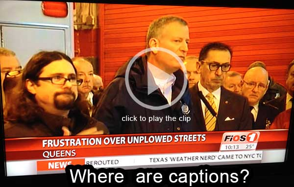 Video clip of Verizon Fios not showing captioning on TV
