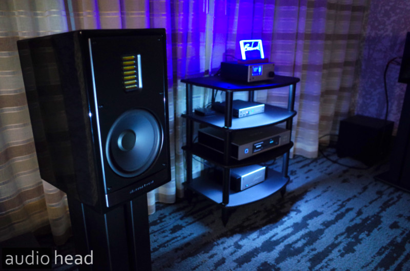 Martin Logan Motion 35XTi bookshelf speakers with Benchmark Media at RMAF 2019.