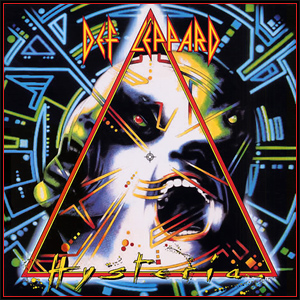 The best hard rock album of the 80s - Def Leppard's Hysteria.This is the front cover for the album Hysteria by the artist Def Leppard. The cover art copyright is believed to belong to Mercury Records, Ltd.Image used under fair use laws solely to illustrate the audio recording in question.