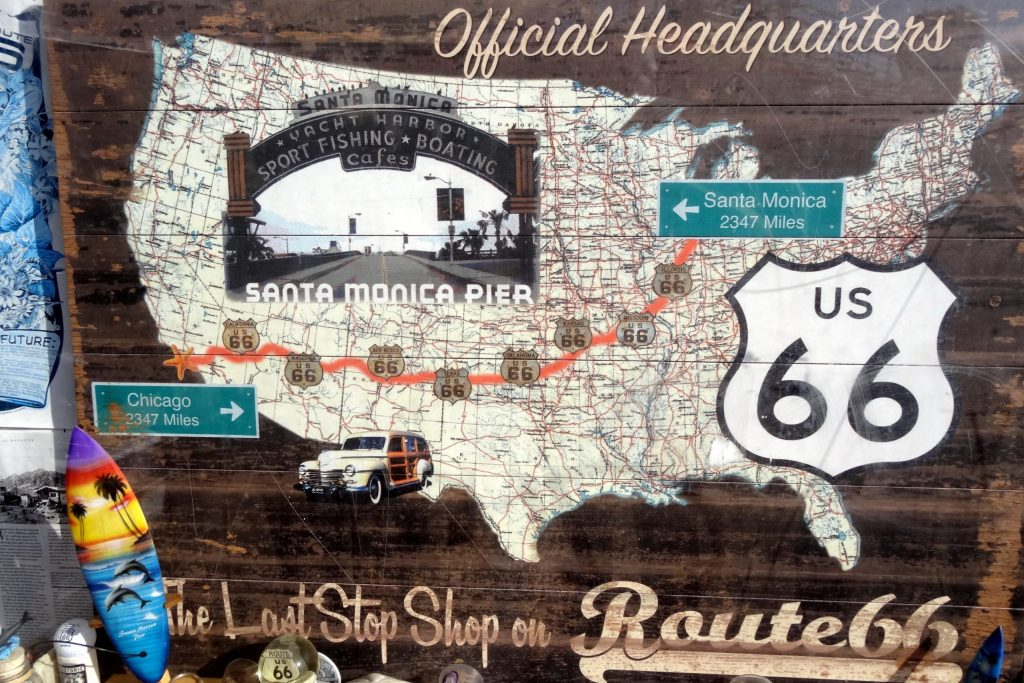 Covers of Route 66 epitomize the former route through the Midwest and Southwest United States.