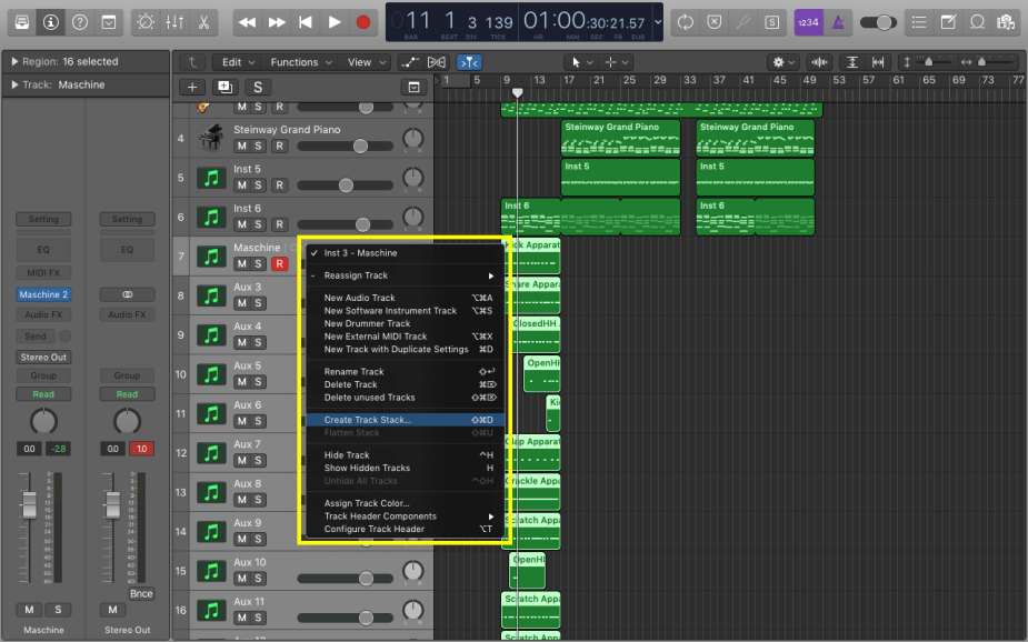 Select all the 16 tracks including the instrument and 15 aux, right click on one of them, and select 'Create Track Stack'