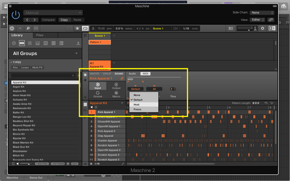 Select the rotary icon, and click on Input, and then MIDI, select all the 16 sounds and choose Host as shown in the image