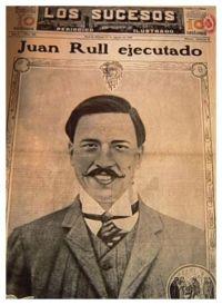 Portada de periódico que anuncia la ejecución de Juan Rull