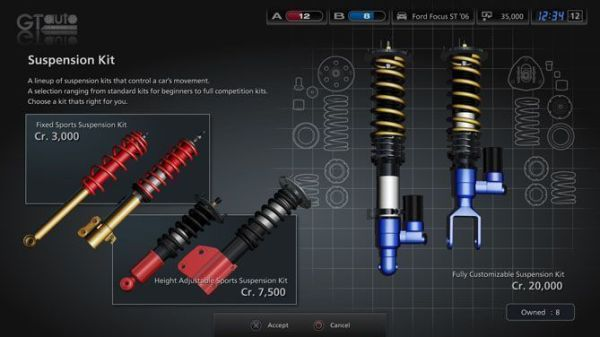 Pantalla con las características de los amortiguadores de un vehículo de GT5