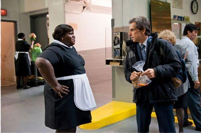 """Gabourey Sidibe y Ben Stiller en """"Un golpe de altura"""" (2011)"""