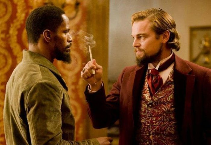 "Jamie Foxx y Leonardo DiCaprio en ""Django desencadenado"" (2013)"