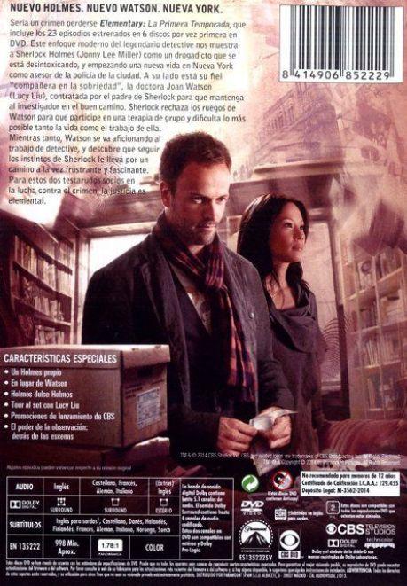"""parte trasera estuche """"Elementary"""" (Temporada 1 en DVD)"""