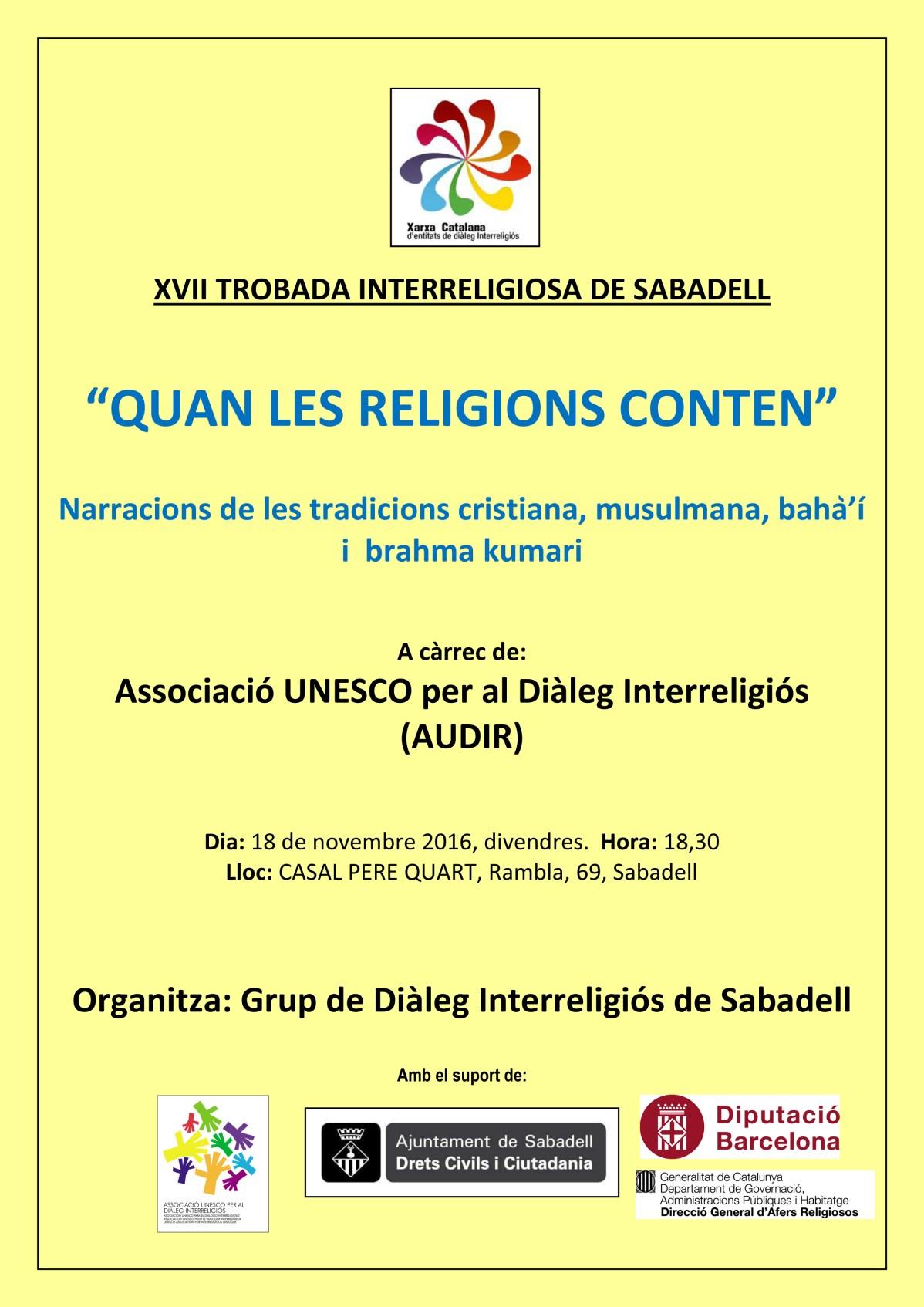XII TROBADA INTERRELIGIOSA Sabadell 2012