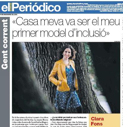 L'AUDIR de les persones- Entrevista a la Clara Fons al Periódico de Catalunya 19-12-2018