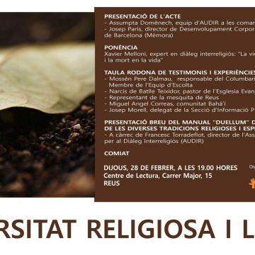 ACTE A REUS 28/02/19: «DIVERSITAT RELIGIOSA I EL FINAL DE LA VIDA – CERIMÒNIES DE LA MORT I EL DOL A LES DIVERSES TRADICIONS»