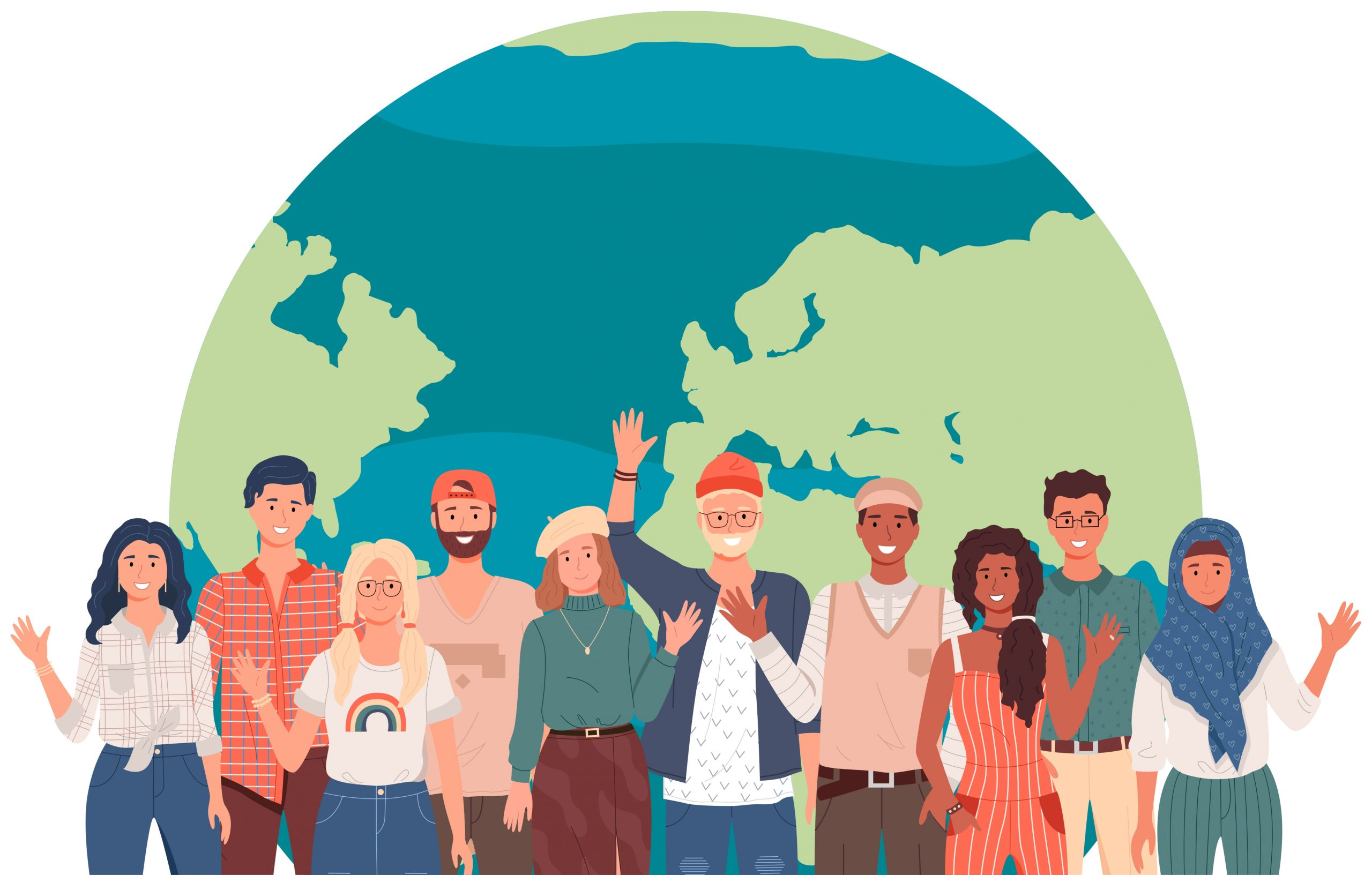 People,In,National,Clothes,Stand,On,Background,Of,Planet.,Characters