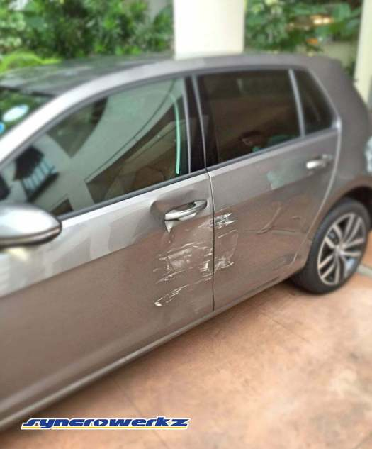 Volkswagen Golf Mk7 with epic door damage