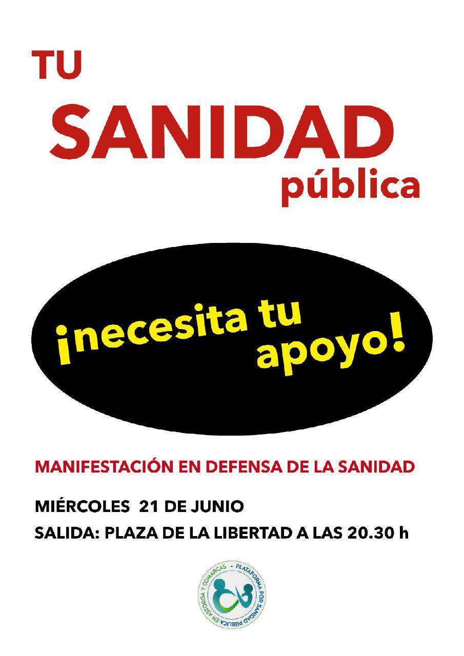 Cartel_Manifestación Defensa Sanidad Pública en Astorga_2017-06-21