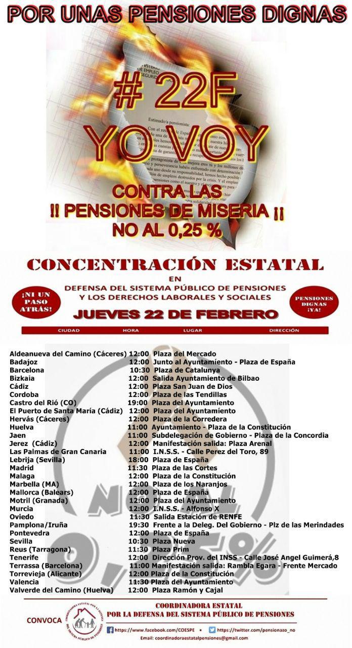 Concentración Estatal Por Unas Pensiones Dignas – 22/02/2018
