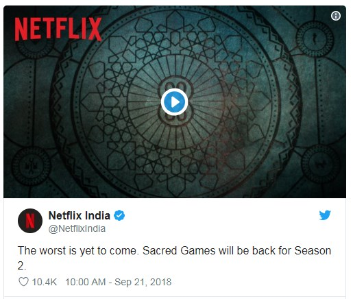 Sacred Games Season 2 release dates
