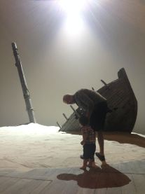 Papa Gregory Linington, Actor, and son Jonah on set for The Tempest, Shakespeare Theatre Company in Washington DC.